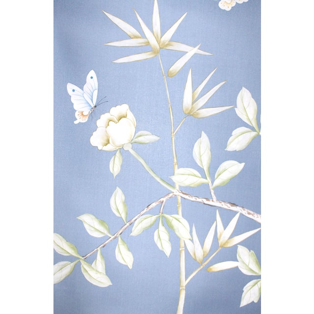 """Chinoiserie """"Furness"""" Hand-Painted Silk Diptych by Simon Paul Scott for Jardins en Fleur - a Pair For Sale - Image 4 of 5"""