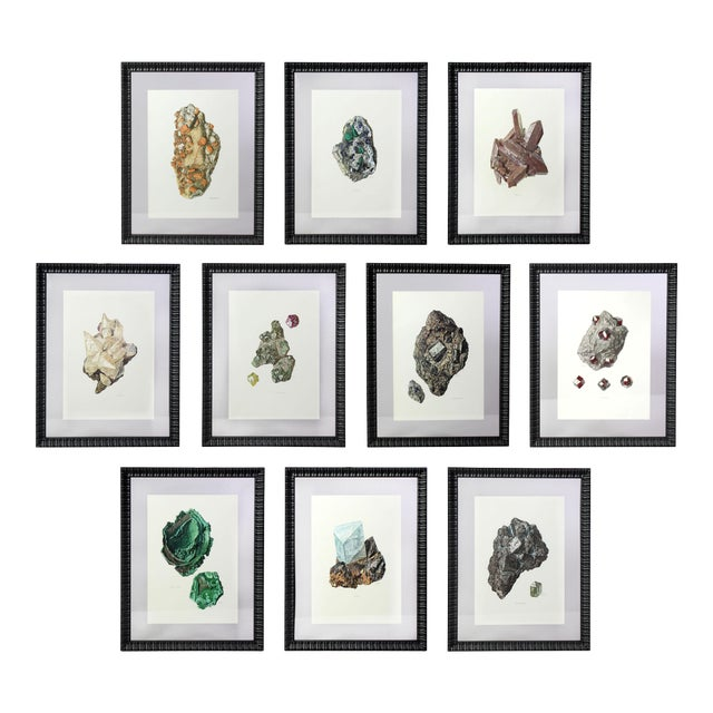 Antique French Gemstone Mineralogy Study Lithographs Prints - Set of 10 For Sale