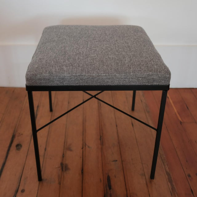 Pair of Iron X-Base Ottomans, 1950s For Sale In San Diego - Image 6 of 8