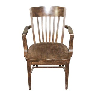 1920s Wooden Bankers Chair With Arms For Sale