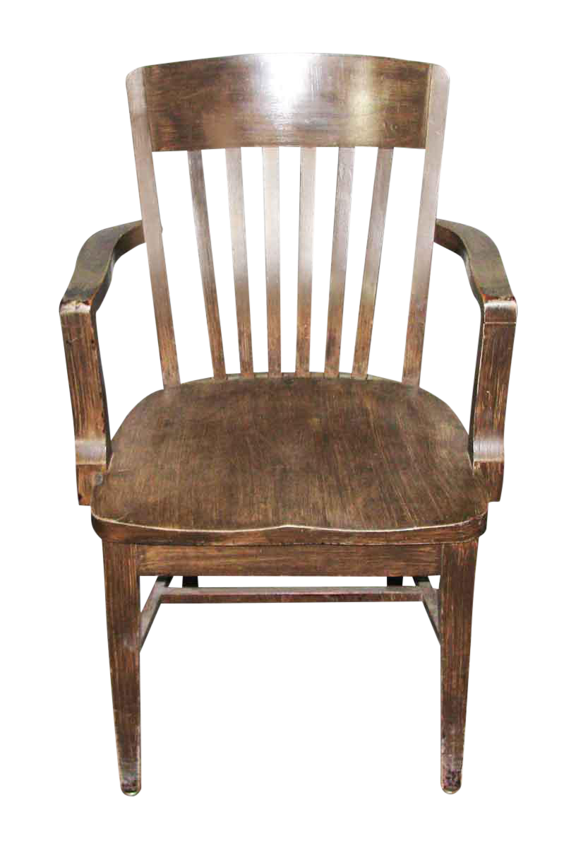 1920s Wooden Bankers Chair With Arms