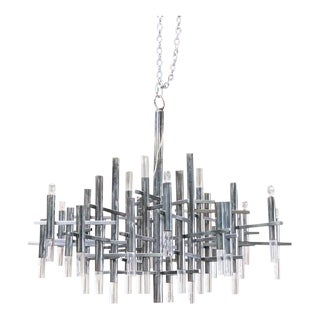 Gaetano Sciolari Geometric Modernist Chandelier For Sale