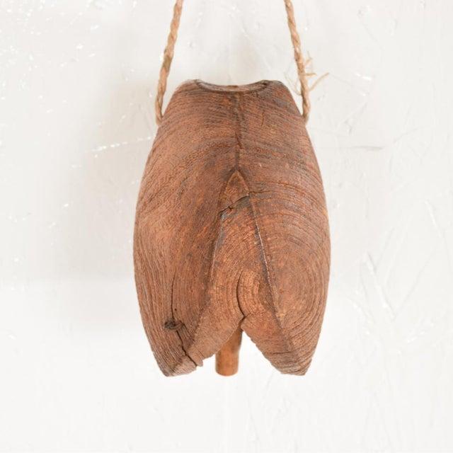 Boho Chic Decorative Vintage Oak Wood Cow Bell For Sale - Image 3 of 7