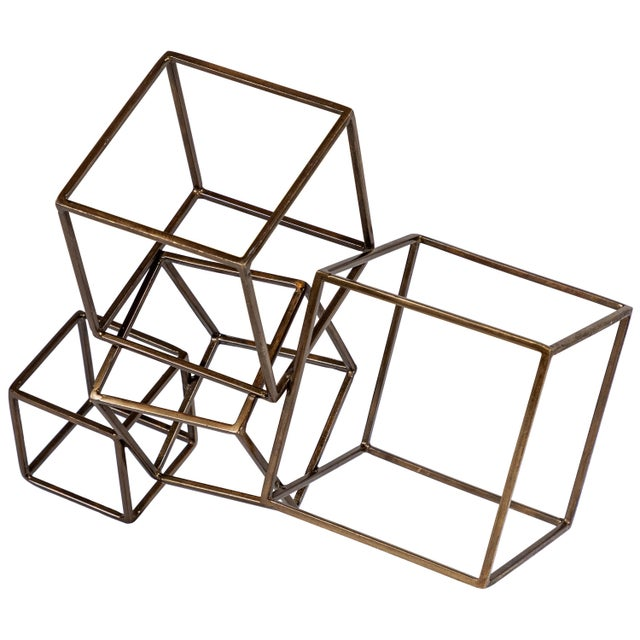 Gold Cubist Brass Sculpture For Sale - Image 8 of 8