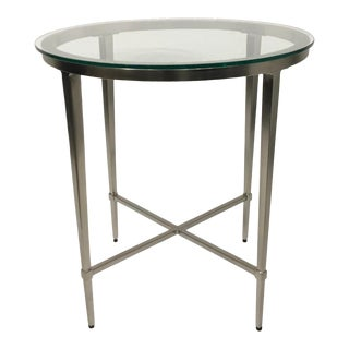Modern Round Stainless Steel and Glass End Table For Sale