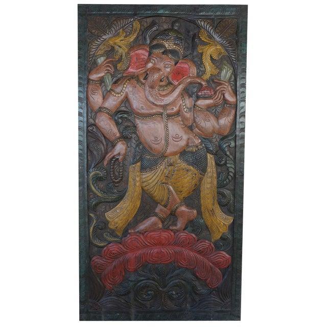 Vintage Carved Ganesha Wall Sculpture For Sale