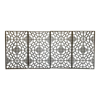 Set of Four 19th Century Japanese Lattice Wooden Panels For Sale