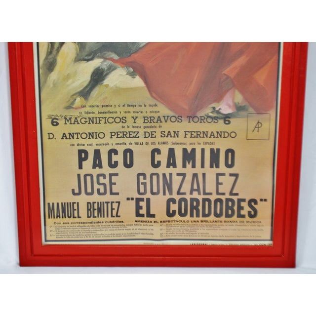Vintage Framed 1971 Spanish Bullfight Running of the Bulls Lithograph For Sale - Image 10 of 13