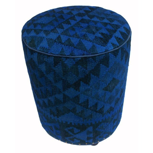 2010s Arshs Deandrea Blue/Drk. Blue Kilim Upholstered Handmade Ottoman For Sale - Image 5 of 8