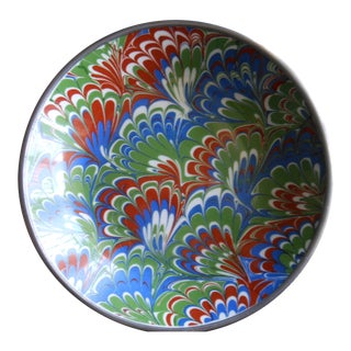 Neiman Marcus Blue Green White Florentine Design Ceramic and Pewter Bowl For Sale
