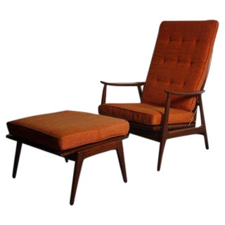 Danish Modern Walnut Lounge Chair & Ottoman