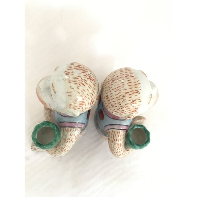 Green Vintage Chinese Ceramic Monkey Gardener Seated - a Pair For Sale - Image 8 of 11