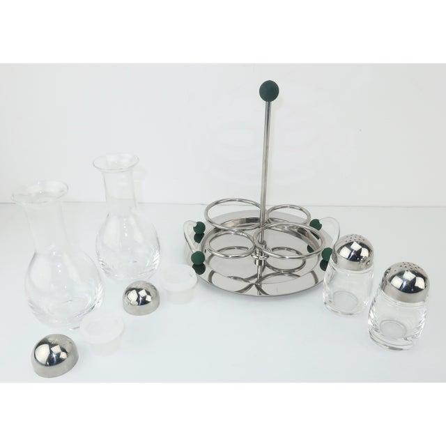1980s Mepra Italian Stainless Steel & Glass Postmodern Cruet Set For Sale - Image 5 of 11