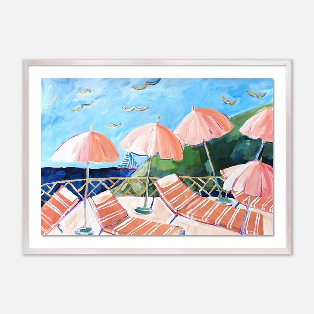 Contemporary Cabana 7 by Lulu DK in White Wash Framed Paper, Large Art Print For Sale - Image 3 of 3