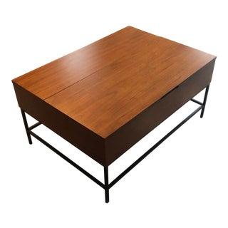 Industrial West Elm Walnut Storage Coffee Table For Sale