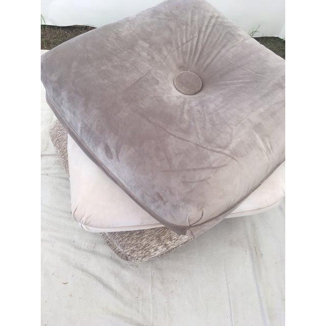 Hollywood Regency Velvet Pillow Stools - Set of 3 For Sale - Image 3 of 9