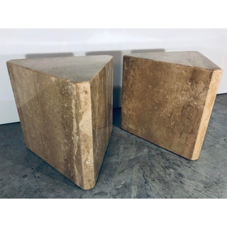 1970s Mid-Century Modern Pair of Italian Travertine Pedestal or Side Tables Preview