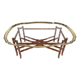 Baker Chinoiserie Brass Coffee Table For Sale
