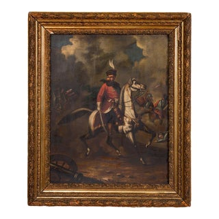 Late 19th Century Antique Original Battle Scene of Polish Officer on Horseback Oil Painting For Sale