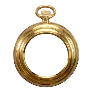 French Brass Pocket Watch Form Wall Mirror