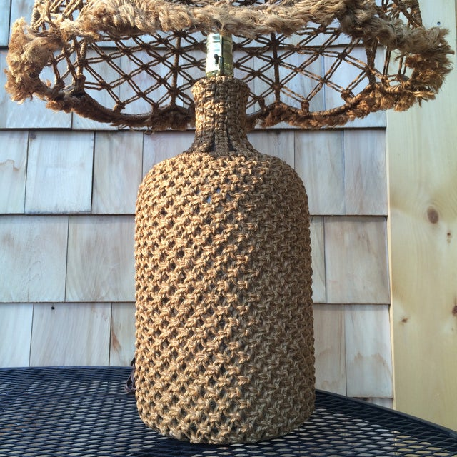 Boho Chic Woven Organic Fiber Table Lamp For Sale - Image 3 of 4