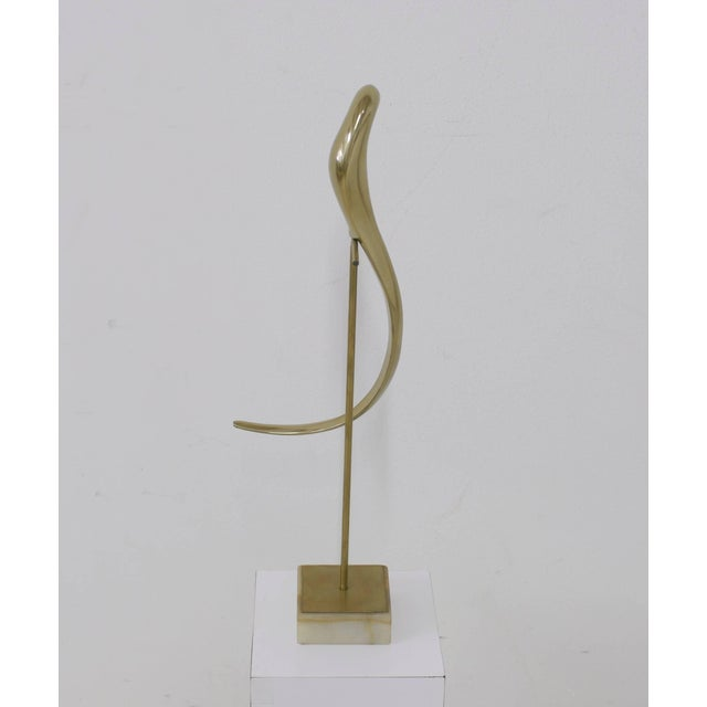 Curtis Jere Jere Brass Bird Table Sculpture of Parrot on Perch Mounted on Marble Base For Sale - Image 4 of 11