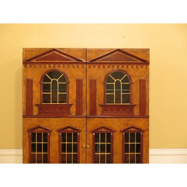 Maitland Smith Leather Wrapped House Form China Cabinet For Sale In Philadelphia - Image 6 of 13