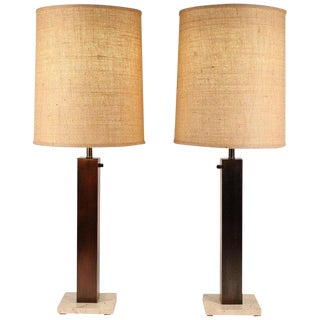 Pair of 1960s Oil Rubbed Bronze and Travertine Table Lamps by Nessen For Sale