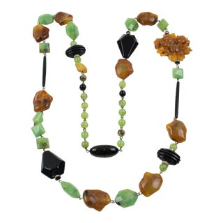 Angela Caputi Italy Long Necklace Black Jade Carnelian Resin Beads For Sale