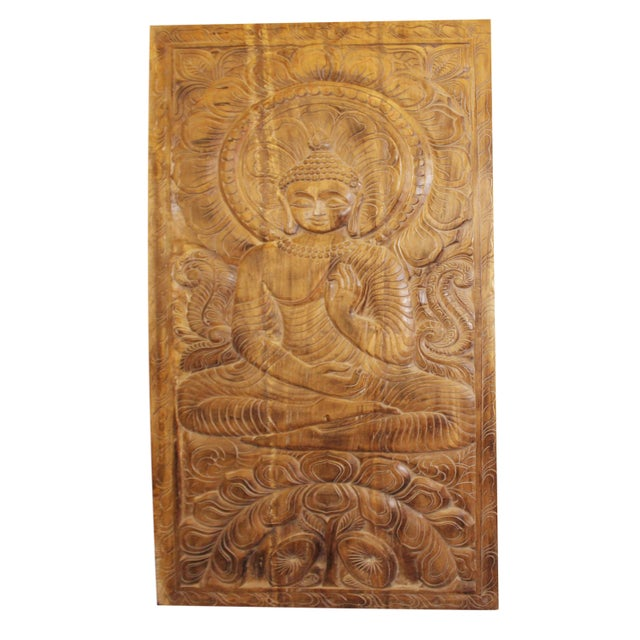 Brown 1990s Vintage Hand Carved Buddhism Panel For Sale - Image 8 of 8