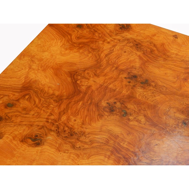 Large Square Bookmarked Burl Veneer Coffee Table For Sale - Image 10 of 11