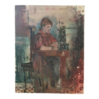 Original Painting - Woman Sitting At Desk Portrait