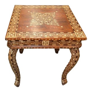 Indian Bone Inlay Square Side Table For Sale