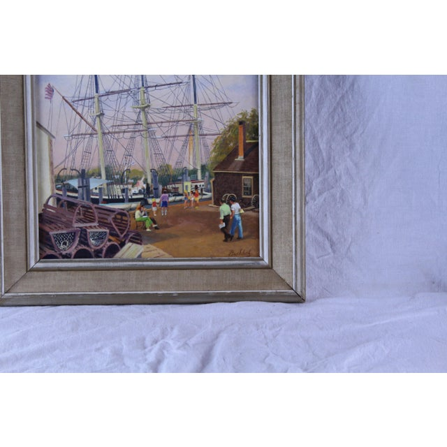 """Oil on canvas of a ship at Mystic Seaport by Frederick Buchholz. Painting 11.5x15"""""""