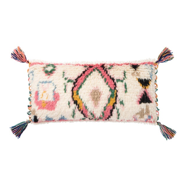 "Justina Blakeney X Loloi Ivory / Multi 12"" X 27"" Cover with Down Pillow For Sale"