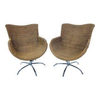 Mid-Century Modern Woven Wicker Lounge Chairs - a Pair For Sale