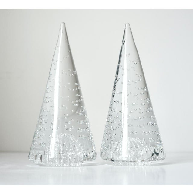 1980s Vintage Cenedese Italian Crystal Murano Art Glass Obelisks Sculptures - a Pair For Sale - Image 9 of 9