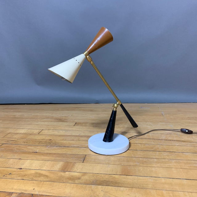 1950s Italian Desk Lamp, Lacquered Metal & Brass For Sale - Image 9 of 9
