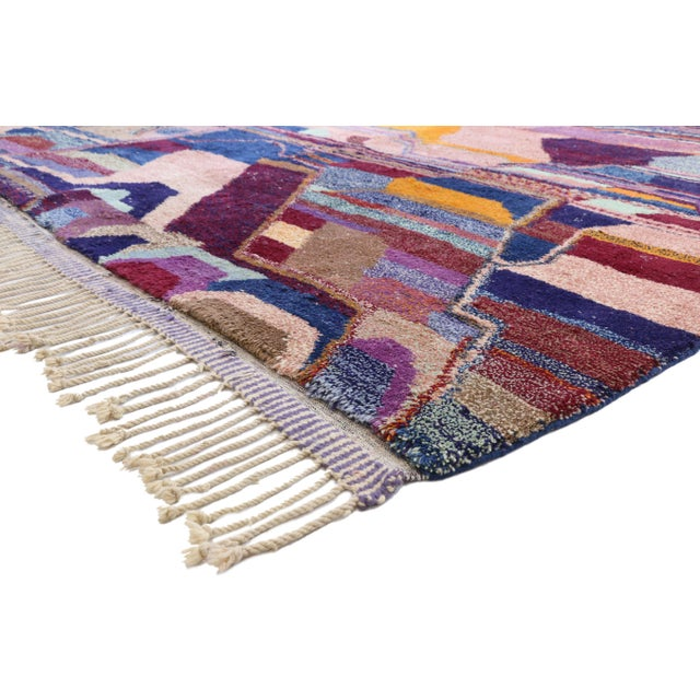 This hand knotted wool contemporary Berber Moroccan area rug with Postmodern Cubism style features an asymmetrical graphic...
