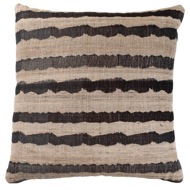 Indian Handwoven Pillow Ocean Stripe Charcoal For Sale