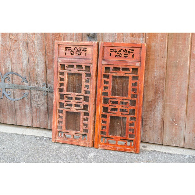 Red Vintage Asian Lattice Carved Window Panels, Set of Two For Sale - Image 8 of 9