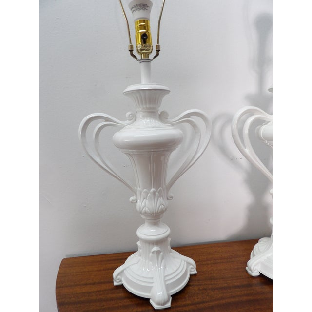 Art Nouveau 1980s Vintage Handled Metal Urn Lamps in New White Lacquer - a Pair For Sale - Image 3 of 7