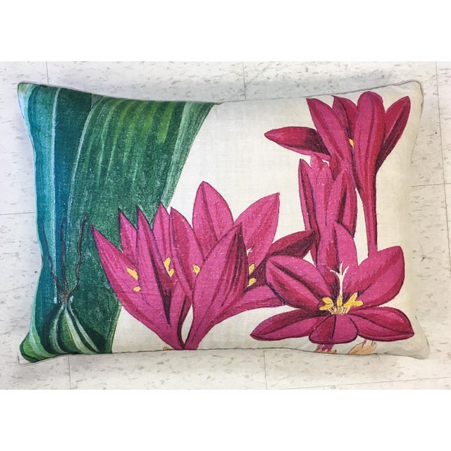 Beautiful NEW with tag hot pink linen printed tropical flower design pillow with down insert by Design Legacy. Zipper...