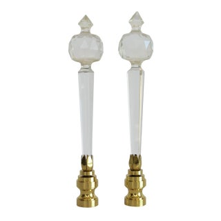 Clear Faceted Lead Crystal Austrian Glass Finials, Pair by C. Damien Fox For Sale