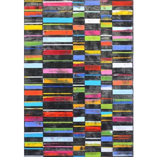 """Petra Ros-Nickel """"Black Big Stripes"""" Colorful Large Original Oil and Mixed Media Painting For Sale"""