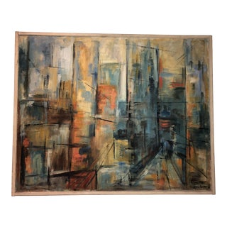 1960s Vintage Abstract Cityscape Painting For Sale