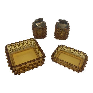 Fenton Hobnail Amber Glass Lighters and Ashtrays - 4 Pieces For Sale