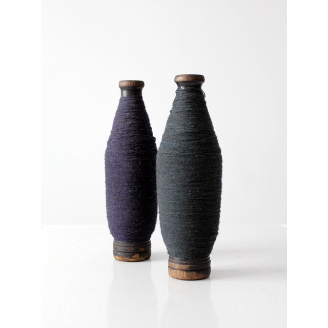 Antique Wooden Spools With Navy Thread - a Pair - Image 5 of 7