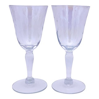 1960s West Virginia Glass Iridescent Wine Glasses - Set of 2 For Sale