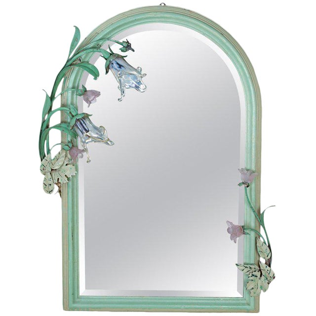 Art Nouveau Original Paint Mirror With Glass Flower Lights For Sale